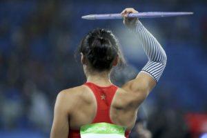 2016 Rio Olympics - Athletics - Preliminary - Women's Javelin Throw Qualifying Round - Groups - Olympic Stadium - Rio de Janeiro, Brazil - 16/08/2016. Lu Huihui (CHN) of China competes. REUTERS/Alessandro Bianchi